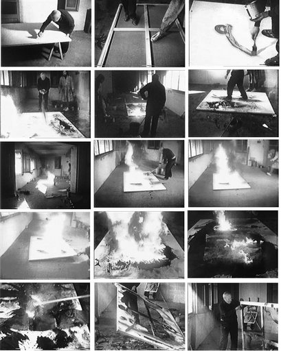 Filmstills from 'Burnt Canvases' (1973) by Francesc Català-Roca